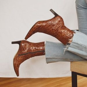 Vintage Crocodile Leather Ankle Boots